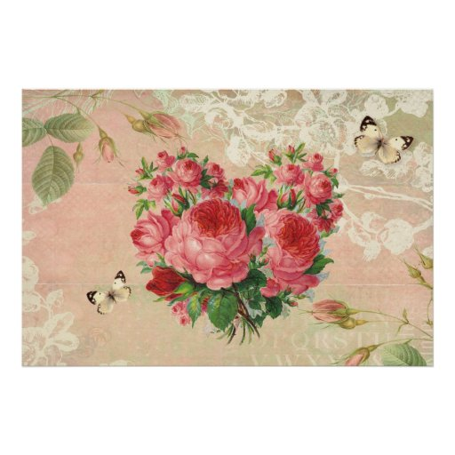 Girly Vintage Rose Heart Collage Posters