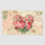 Girly Vintage Rose Heart Collage Rectangle Sticker