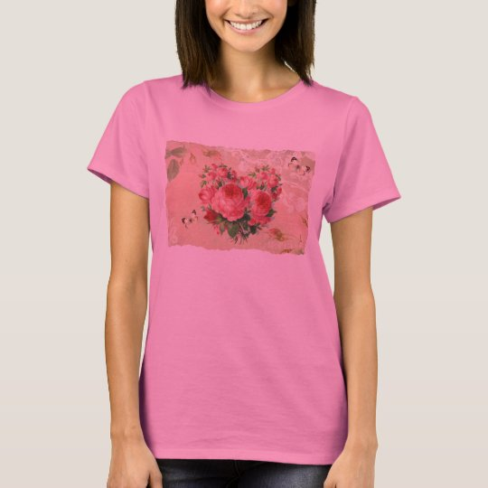 Girly Vintage Rose Heart Collage T-Shirt