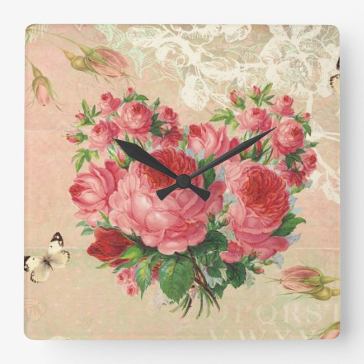 Girly Vintage Rose Heart Collage Wall Clocks | Zazzle