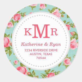 Girly Vintage Roses Floral Monogram Address Labels
