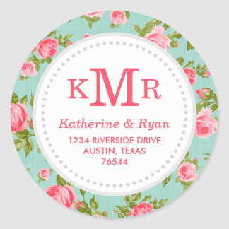 Girly Vintage Roses Floral Monogram Address Labels Classic Round Sticker