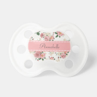 Girly Vintage Roses Floral Monogram Baby Pacifiers Pacifiers