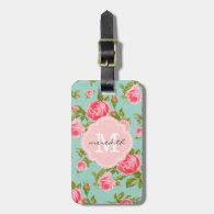 Girly Vintage Roses Floral Monogram Bag Tags