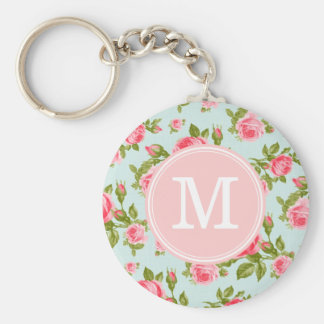 Girly Vintage Roses Floral Monogram Basic Round Button Keychain