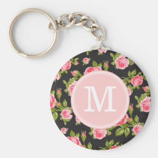 Girly Vintage Roses Floral Monogram Key Chains
