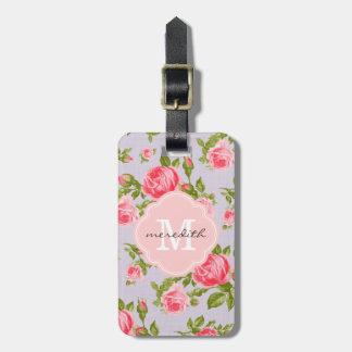 Girly Vintage Roses Floral Monogram Luggage Tag