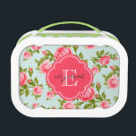 """Girly Vintage Roses Floral Monogram Lunch Box<br><div class=""""desc"""">Personalized monogram lunchbox,  perfect for packing your kids&#39; school lunches! Design features a cute girly vintage floral rose pattern with your custom name and monogram in a colored quatrefoil frame. Click Customize It to change monogram font and colors and create your own unique one of a kind design.</div>"""