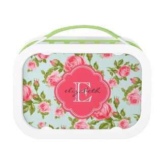 Girly Vintage Roses Floral Monogram Lunch Box at Zazzle