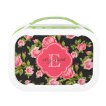 Girly Vintage Roses Floral Monogram Lunch Box<br><div class='desc'>Personalized monogram lunchbox,  perfect for packing your kids&#39; school lunches! Design features a cute girly vintage floral rose pattern with your custom name and monogram in a colored quatrefoil frame. Click Customize It to change monogram font and colors and create your own unique one of a kind design.</div>