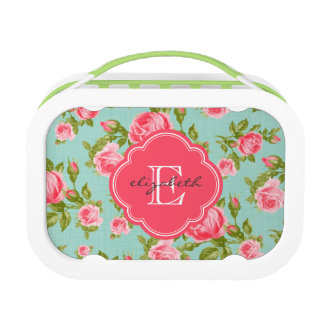 Girly Vintage Roses Floral Monogram Lunch Boxes