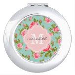 Girly Vintage Roses Floral Monogram Makeup Mirror