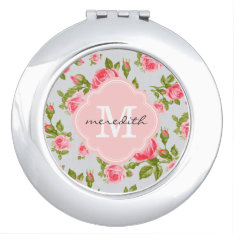 Girly Vintage Roses Floral Monogram Makeup Mirror at Zazzle