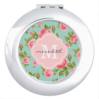 Girly Vintage Roses Floral Monogram Mirror For Makeup