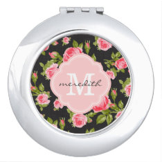 Girly Vintage Roses Floral Monogram Mirror For Makeup at Zazzle