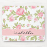 Girly Vintage Roses Floral Monogram Mouse Pad