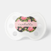 Girly Vintage Roses Floral Monogram Pacifier