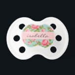 """Girly Vintage Roses Floral Monogram Pacifier<br><div class=""""desc"""">Cute girly feminine romantic country cottage chic vintage floral rose flower pattern with a subtle faux linen fabric texture. Personalize the design with a custom name monogram for a sweet gift for a new mom or baby shower present! Click the &quot;Customize It&quot; button to change fonts and colors for a...</div>"""