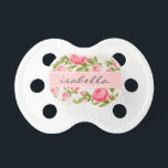 "Girly Vintage Roses Floral Monogram Pacifier<br><div class=""desc"">Cute girly feminine romantic country cottage chic vintage floral rose flower pattern with a subtle faux linen fabric texture. Personalize the design with a custom name monogram for a sweet gift for a new mom or baby shower present! Click the &quot;Customize It&quot; button to change fonts and colors for a...</div>"