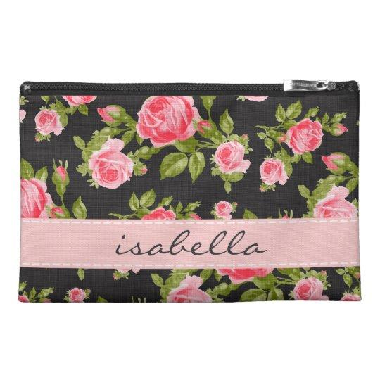 Girly Vintage Roses Floral Monogram Travel Accessories Bag