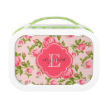 Girly Vintage Roses Floral Monogram Yubo Lunch Box