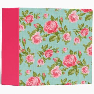 Girly Vintage Roses Floral Print 3 Ring Binder