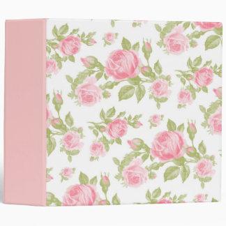 Girly Vintage Roses Floral Print Binder