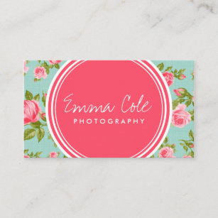 girly vintage roses floral print business card - Girly Business Cards