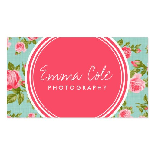 Girly Vintage Roses Floral Print Business Cards