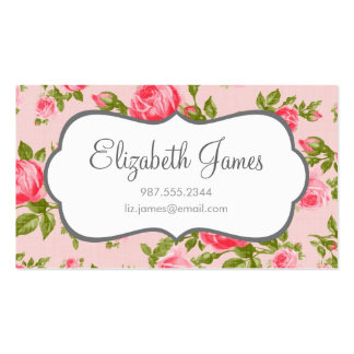 Girly Vintage Roses Floral Print Business Card Templates