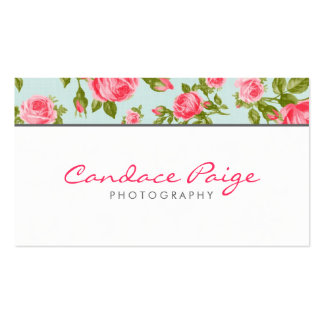 Girly Vintage Roses Floral Print Business Card Template