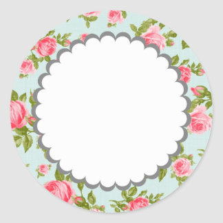 Girly Vintage Roses Floral Print Classic Round Sticker