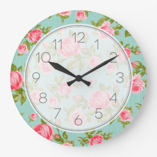 Girly Vintage Roses Floral Print Clocks