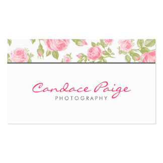 Girly Vintage Roses Floral Print Double-Sided Standard Business Cards (Pack Of 100)