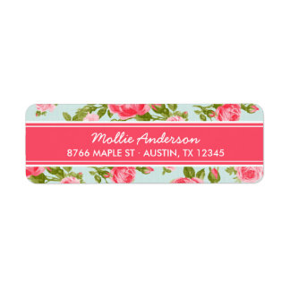 Girly Vintage Roses Floral Print Label