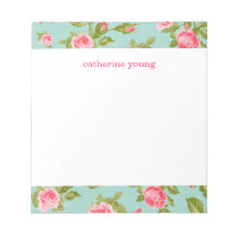 Girly Vintage Roses Floral Print Memo Notepads