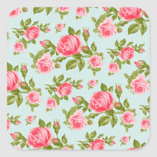 Girly Vintage Roses Floral Print Square Sticker