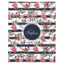 Girly vintage roses floral watercolor brush fleece blanket