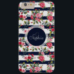 """Girly vintage roses floral watercolor stripes barely there iPhone 6 plus case<br><div class=""""desc"""">Girly vintage roses floral watercolor brush strokes stripes pattern, monogram, custom, navy dark blue watercolor brush paint, cute antique, pink , red, green, brown, white bright colors, flowers, garden, spring, summer holidays, nautical stripes, nature, Art, artwork, romantic, perfect for special occasions, celebrations, antique, vintage feel, girly, adorable, feminine, customizable, trendy,...</div>"""