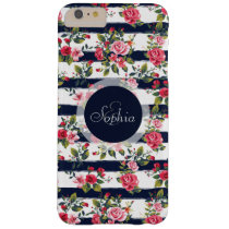 Girly vintage roses floral watercolor stripes barely there iPhone 6 plus case
