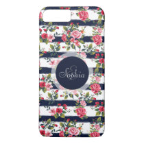 Girly vintage roses floral watercolor stripes iPhone 7 plus case