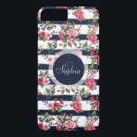 """Girly vintage roses floral watercolor stripes iPhone 8 plus/7 plus case<br><div class=""""desc"""">Girly vintage roses floral watercolor brush strokes stripes pattern, monogram, custom, navy dark blue watercolor brush paint, cute antique, pink , red, green, brown, white bright colors, flowers, garden, spring, summer holidays, nautical stripes, nature, Art, artwork, romantic, perfect for special occasions, celebrations, antique, vintage feel, girly, adorable, feminine, customizable, trendy,...</div>"""