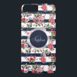 "Girly vintage roses floral watercolor stripes iPhone 8 plus/7 plus case<br><div class=""desc"">Girly vintage roses floral watercolor brush strokes stripes pattern, monogram, custom, navy dark blue watercolor brush paint, cute antique, pink , red, green, brown, white bright colors, flowers, garden, spring, summer holidays, nautical stripes, nature, Art, artwork, romantic, perfect for special occasions, celebrations, antique, vintage feel, girly, adorable, feminine, customizable, trendy,...</div>"