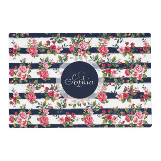 Girly vintage roses floral watercolor stripes placemat