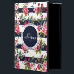 """Girly vintage roses floral watercolor stripes powis iPad air 2 case<br><div class=""""desc"""">Girly vintage roses floral watercolor brush strokes stripes pattern, monogram, custom, navy dark blue watercolor brush paint, cute antique, pink , red, green, brown, white bright colors, flowers, garden, spring, summer holidays, nautical stripes, nature, Art, artwork, romantic, perfect for special occasions, celebrations, antique, vintage feel, girly, adorable, feminine, customizable, trendy,...</div>"""