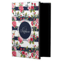 Girly vintage roses floral watercolor stripes powis iPad air 2 case