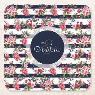Girly vintage roses floral watercolor stripes square paper coaster