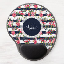 Girly vintage roses floral watercolour stripes gel mouse pad