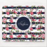 "Girly vintage roses floral watercolour stripes mouse pad<br><div class=""desc"">Girly vintage roses floral watercolor brush strokes stripes pattern, monogram, custom, navy dark blue watercolor brush paint, cute antique, pink , red, green, brown, white bright colors, flowers, garden, spring, summer holidays, nautical stripes, nature, Art, artwork, romantic, perfect for special occasions, celebrations, antique, vintage feel, girly, adorable, feminine, customizable, trendy,...</div>"