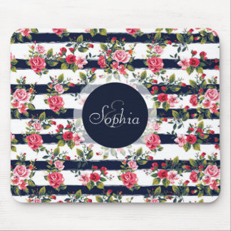 Girly vintage roses floral watercolour stripes mouse pad